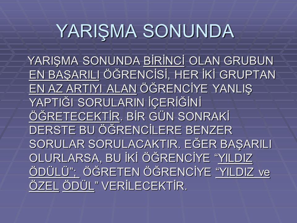 YARIŞMA SONUNDA