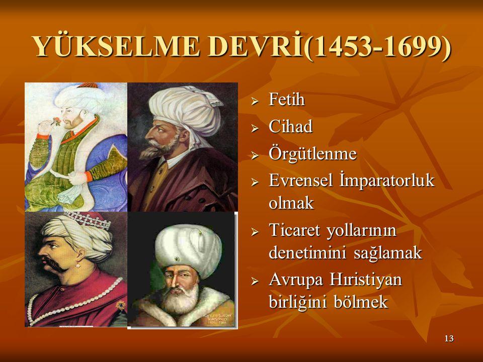 YÜKSELME DEVRİ(1453-1699) Fetih Cihad Örgütlenme