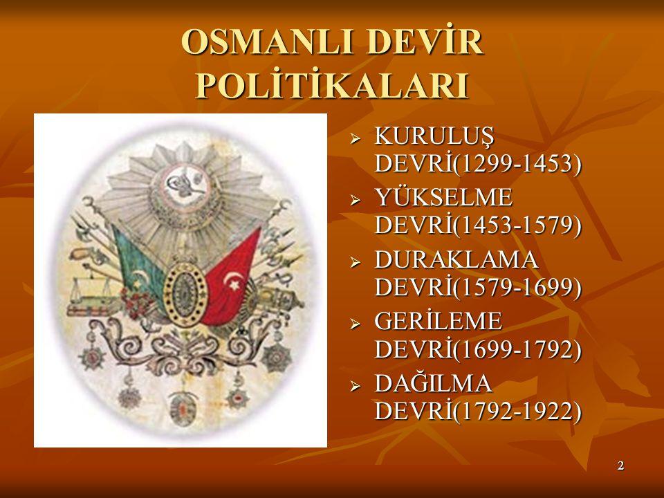 OSMANLI DEVİR POLİTİKALARI