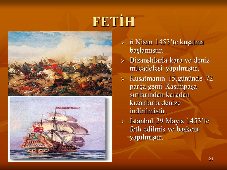 FETİH 6 Nisan 1453'te kuşatma başlamıştır.