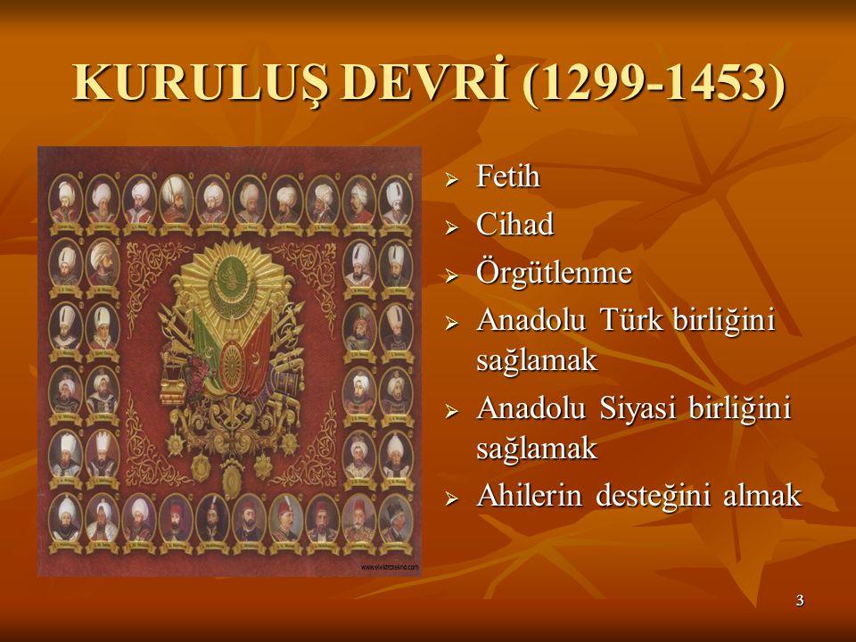 KURULUŞ DEVRİ (1299-1453) Fetih Cihad Örgütlenme