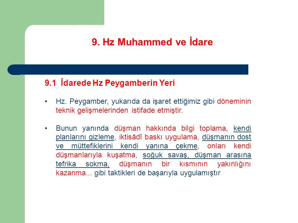 9. Hz Muhammed ve İdare 9.1 İdarede Hz Peygamberin Yeri