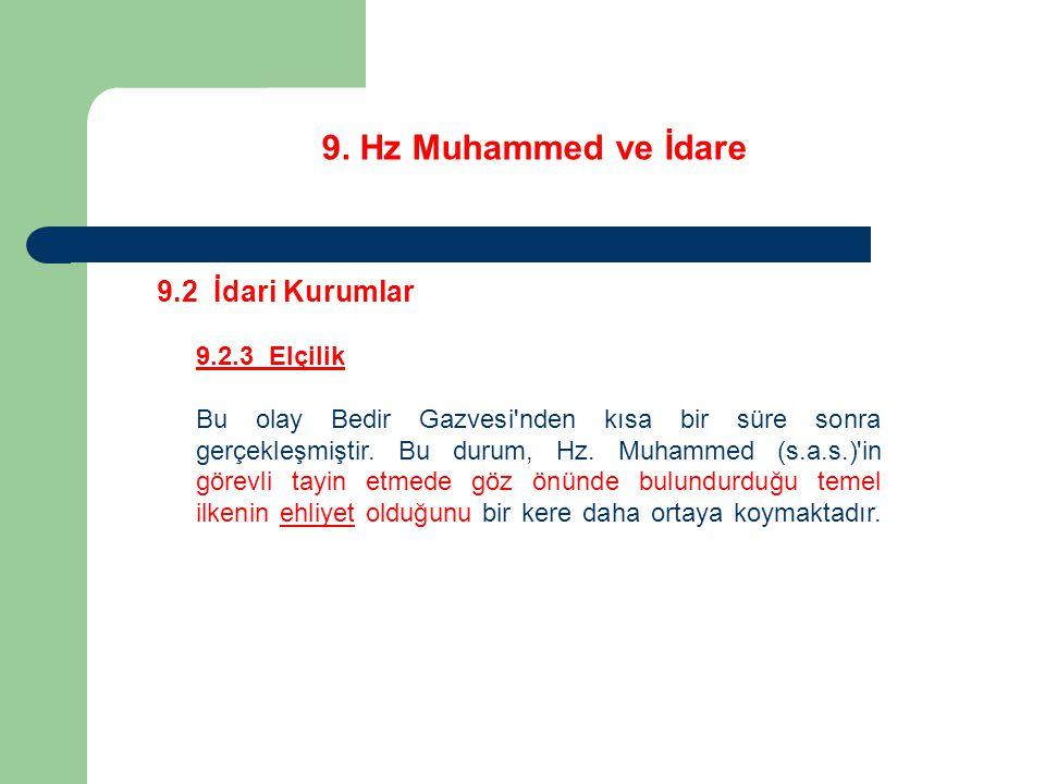 9. Hz Muhammed ve İdare 9.2 İdari Kurumlar 9.2.3 Elçilik