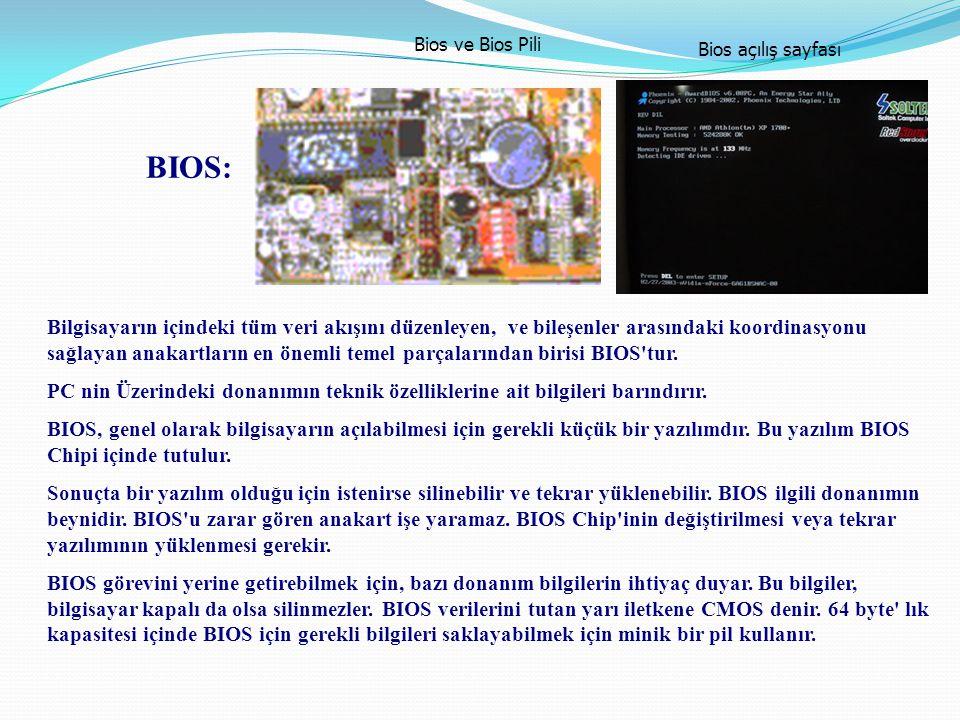 Bios ve Bios Pili Bios açılış sayfası. BIOS: