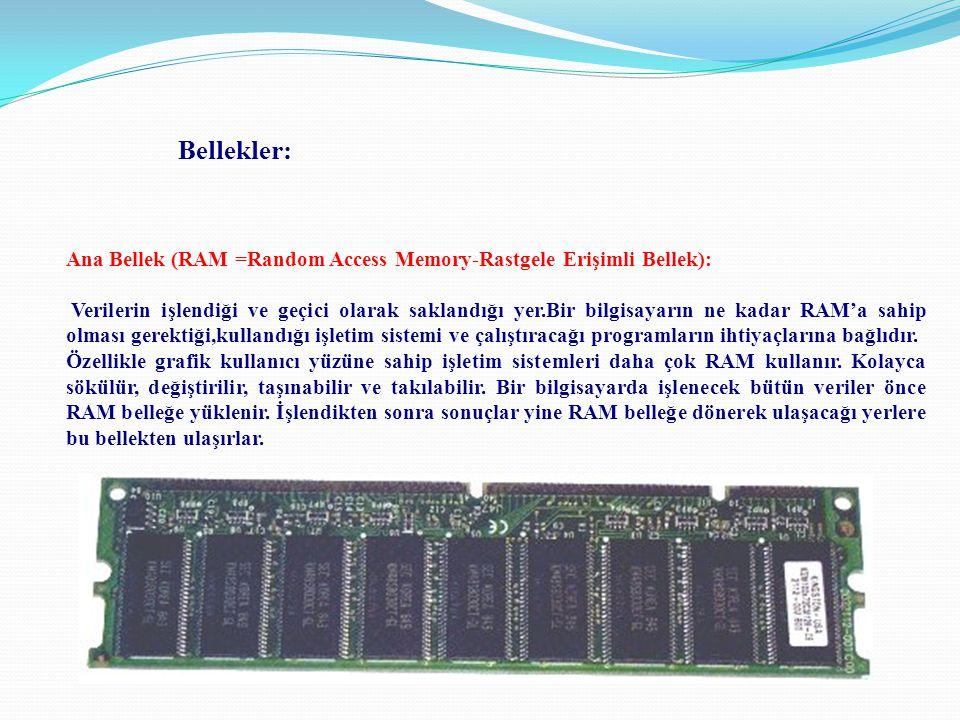 Bellekler: Ana Bellek (RAM =Random Access Memory-Rastgele Erişimli Bellek):