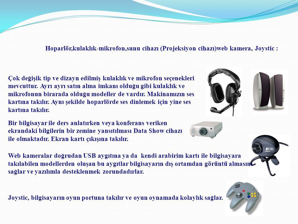 Hoparlör,kulaklık-mikrofon,sunu cihazı (Projeksiyon cihazı)web kamera, Joystic :