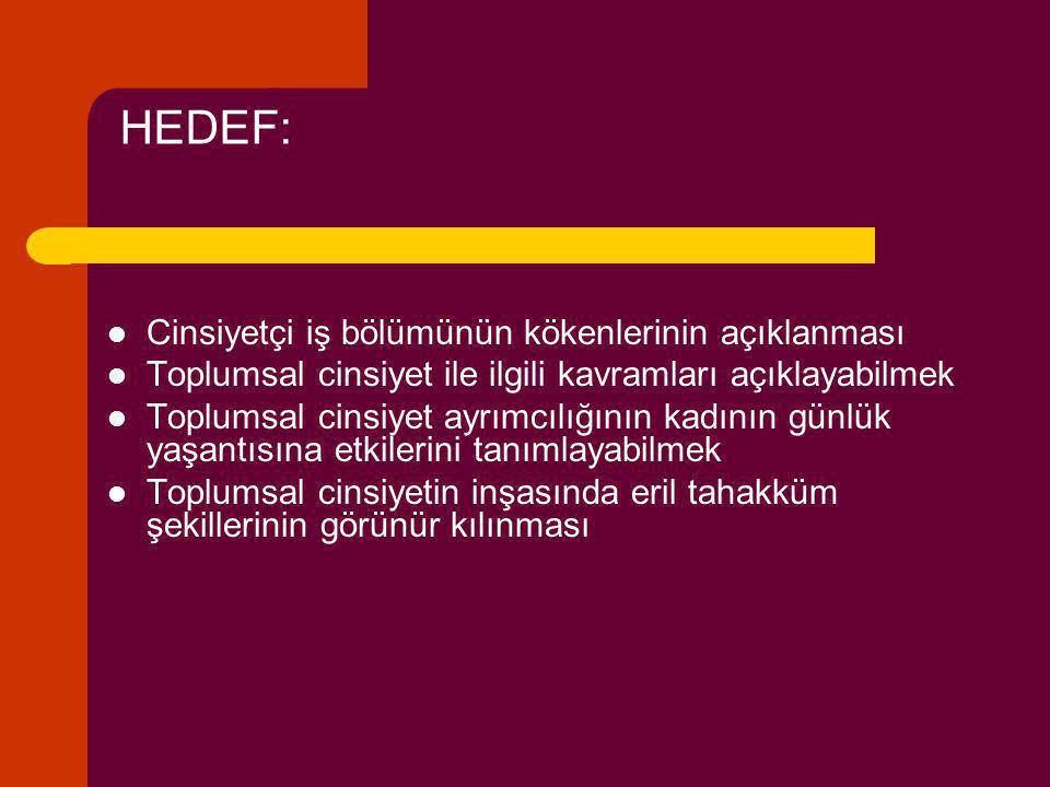 HEDEF: Cinsiyetçi iş bölümünün kökenlerinin açıklanması