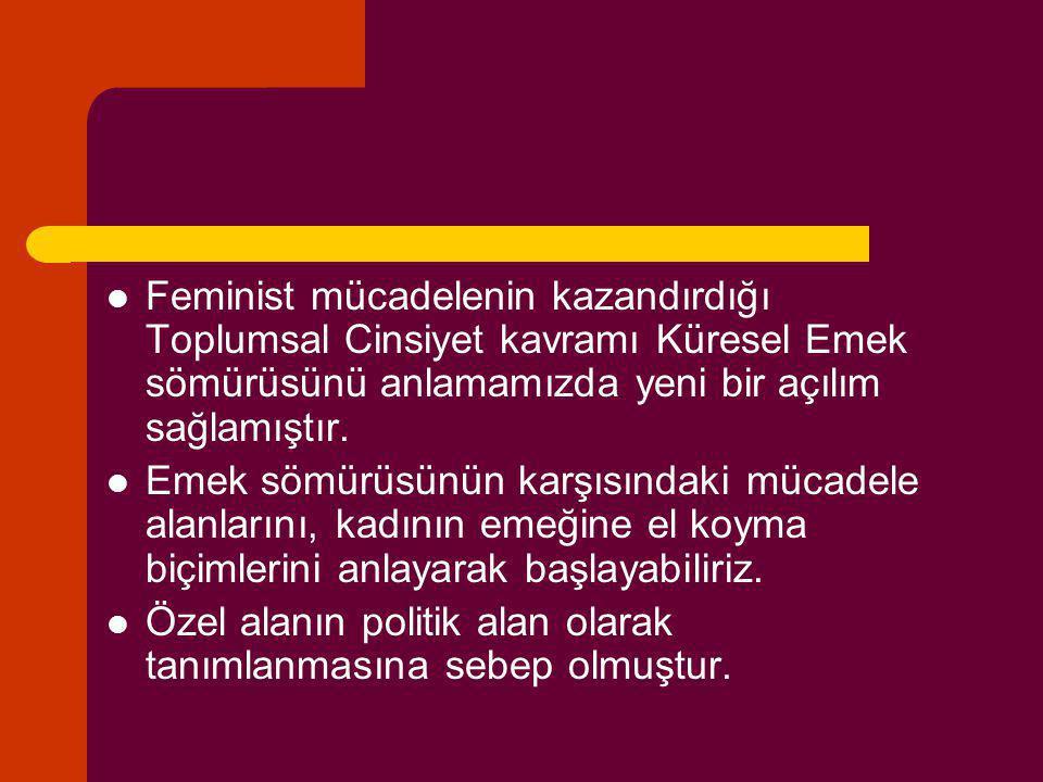 Feminist mücadelenin kazandırdığı Toplumsal Cinsiyet kavramı Küresel Emek sömürüsünü anlamamızda yeni bir açılım sağlamıştır.