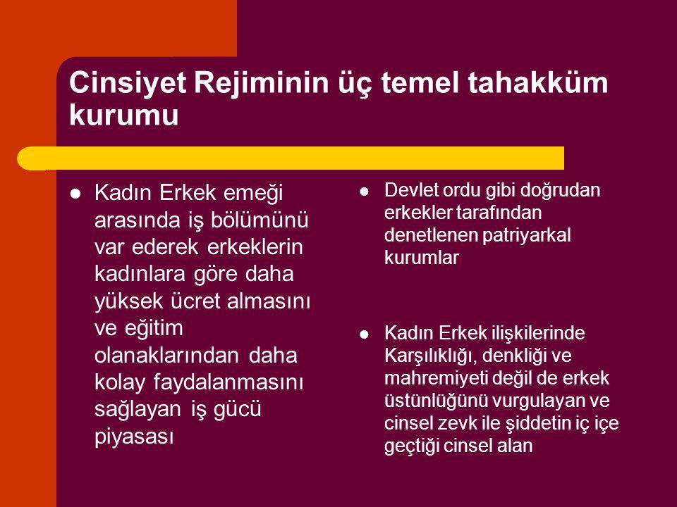 Cinsiyet Rejiminin üç temel tahakküm kurumu