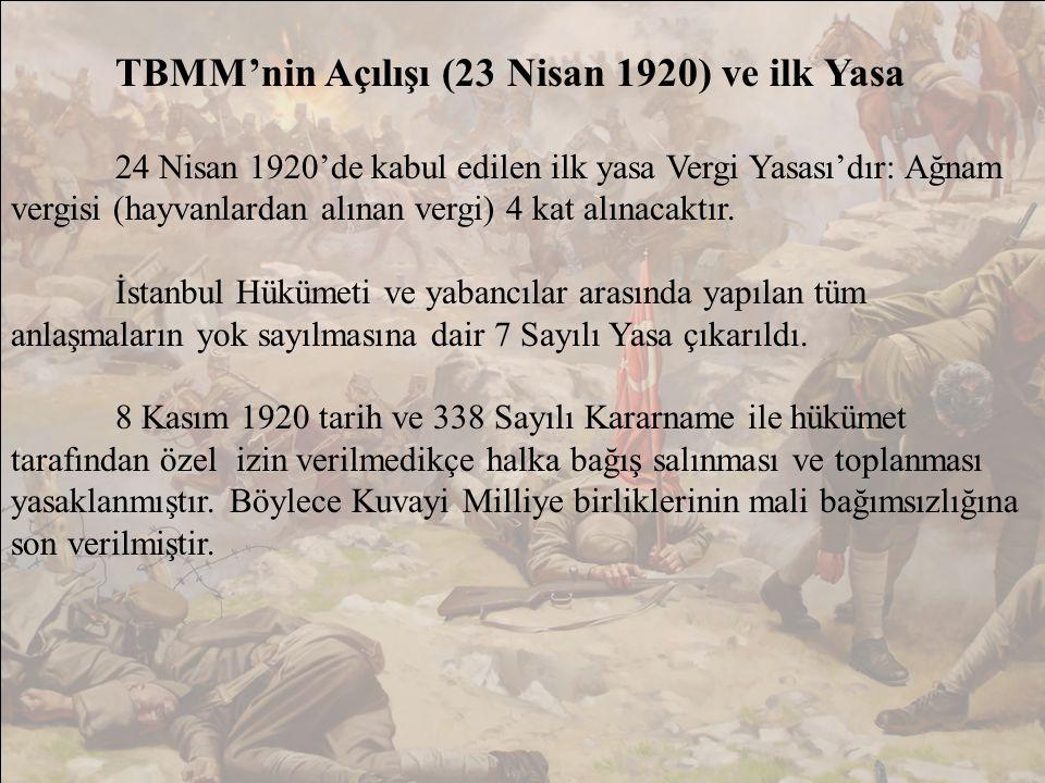 TBMM'nin Açılışı (23 Nisan 1920) ve ilk Yasa