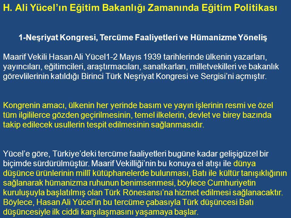 H. Ali Yücel'ın Eğitim Bakanlığı Zamanında Eğitim Politikası
