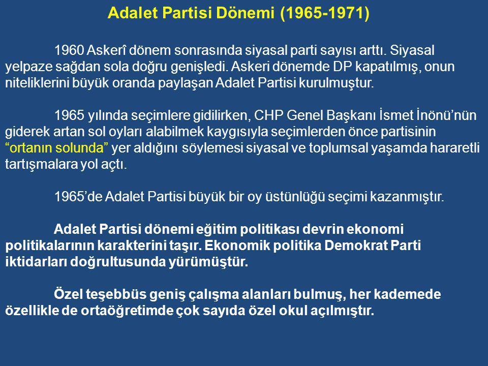 Adalet Partisi Dönemi (1965-1971)