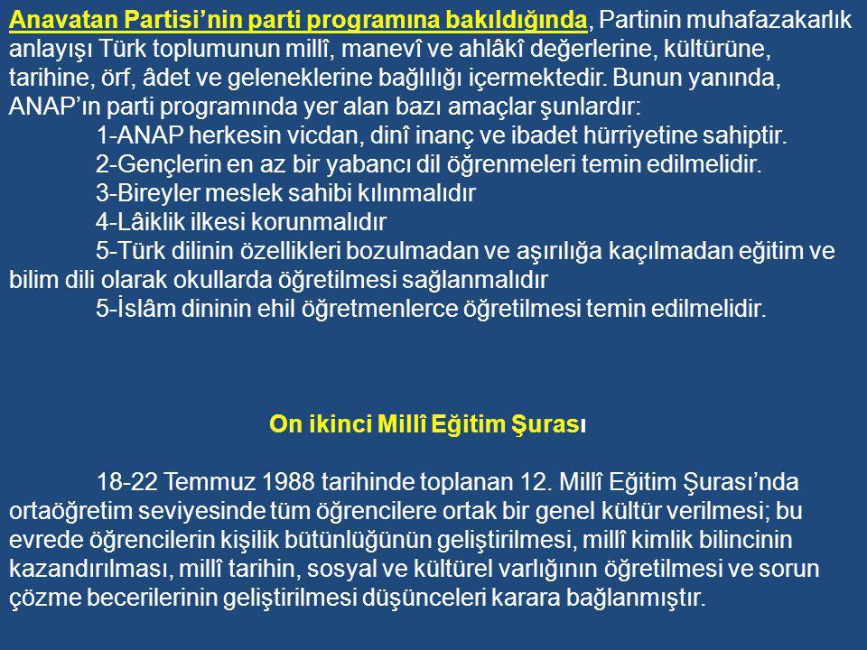 Anavatan Partisi'nin parti programına bakıldığında, Partinin muhafazakarlık anlayışı Türk toplumunun millî, manevî ve ahlâkî değerlerine, kültürüne, tarihine, örf, âdet ve geleneklerine bağlılığı içermektedir. Bunun yanında, ANAP'ın parti programında yer alan bazı amaçlar şunlardır: