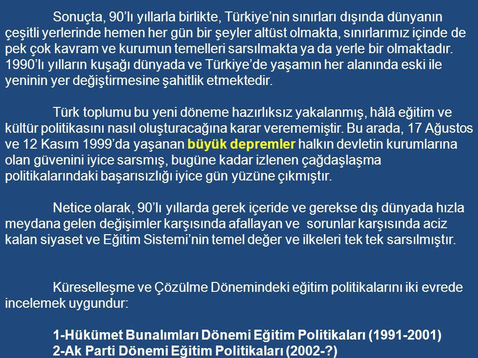 Sonuçta, 90'lı yıllarla birlikte, Türkiye'nin sınırları dışında dünyanın çeşitli yerlerinde hemen her gün bir şeyler altüst olmakta, sınırlarımız içinde de pek çok kavram ve kurumun temelleri sarsılmakta ya da yerle bir olmaktadır. 1990'lı yılların kuşağı dünyada ve Türkiye'de yaşamın her alanında eski ile yeninin yer değiştirmesine şahitlik etmektedir.