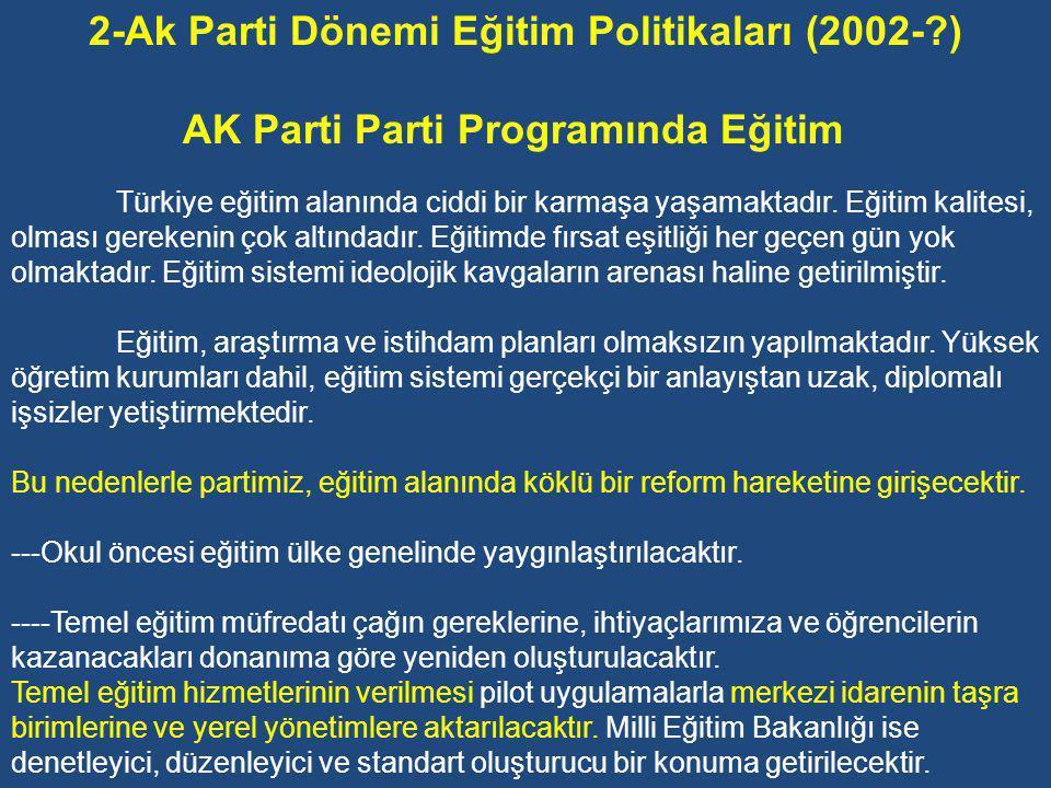 AK Parti Parti Programında Eğitim