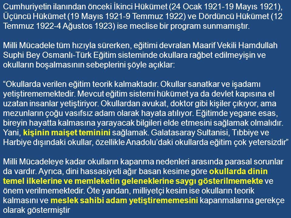 Cumhuriyetin ilanından önceki İkinci Hükümet (24 Ocak 1921-19 Mayıs 1921), Üçüncü Hükümet (19 Mayıs 1921-9 Temmuz 1922) ve Dördüncü Hükümet (12 Temmuz 1922-4 Ağustos 1923) ise meclise bir program sunmamıştır.