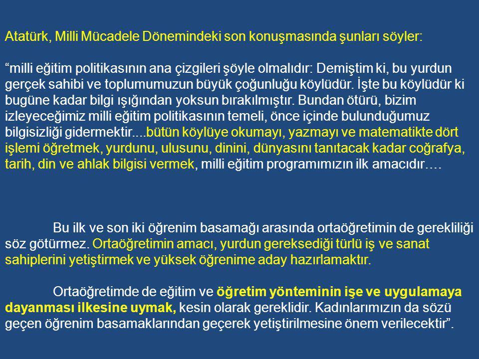 Atatürk, Milli Mücadele Dönemindeki son konuşmasında şunları söyler:
