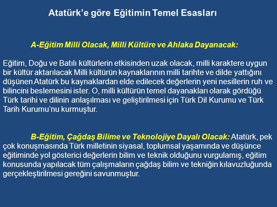 Atatürk'e göre Eğitimin Temel Esasları