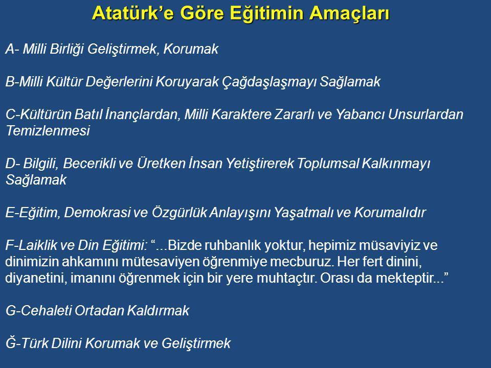 Atatürk'e Göre Eğitimin Amaçları