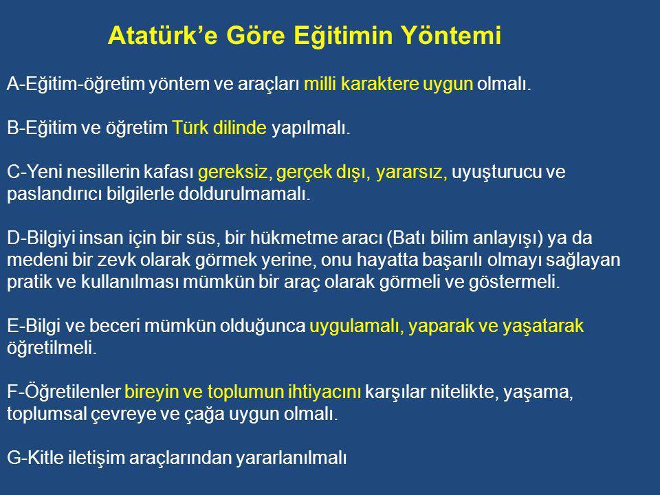Atatürk'e Göre Eğitimin Yöntemi