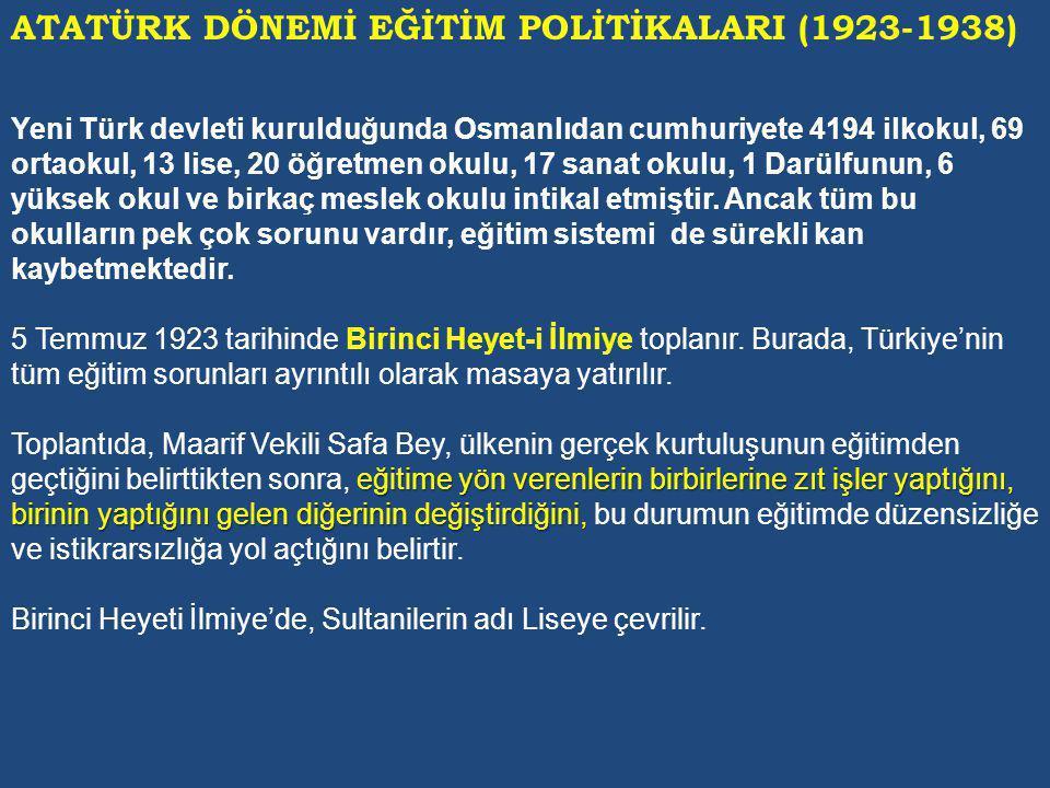 ATATÜRK DÖNEMİ EĞİTİM POLİTİKALARI (1923-1938)