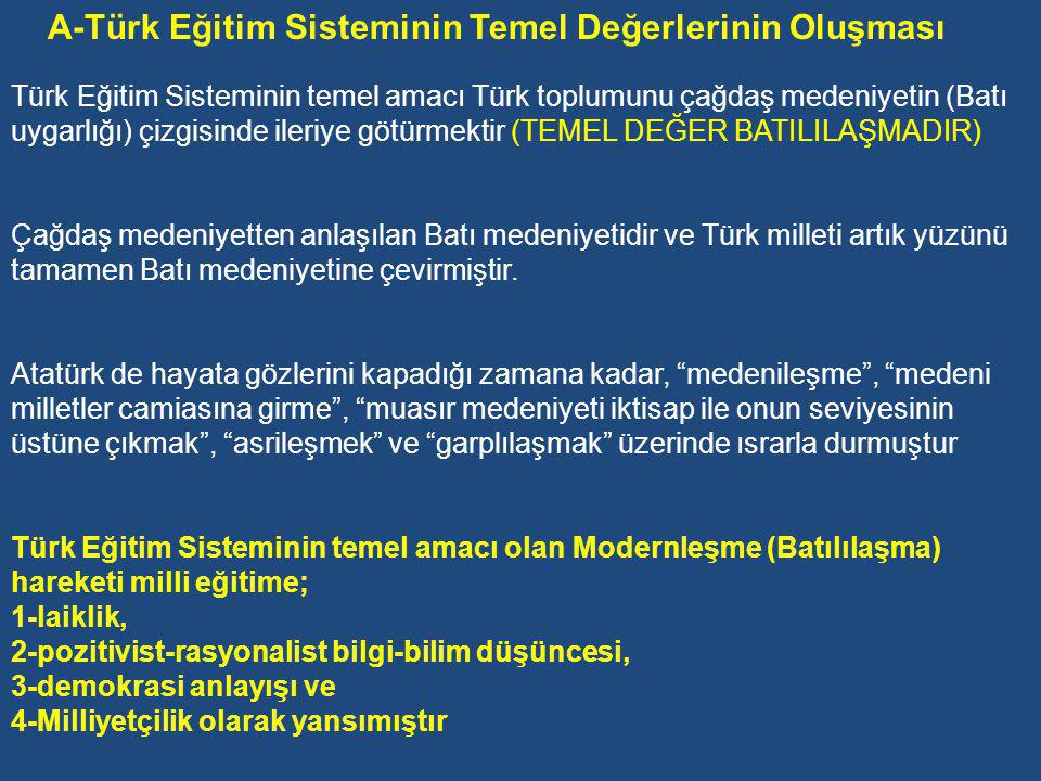 A-Türk Eğitim Sisteminin Temel Değerlerinin Oluşması