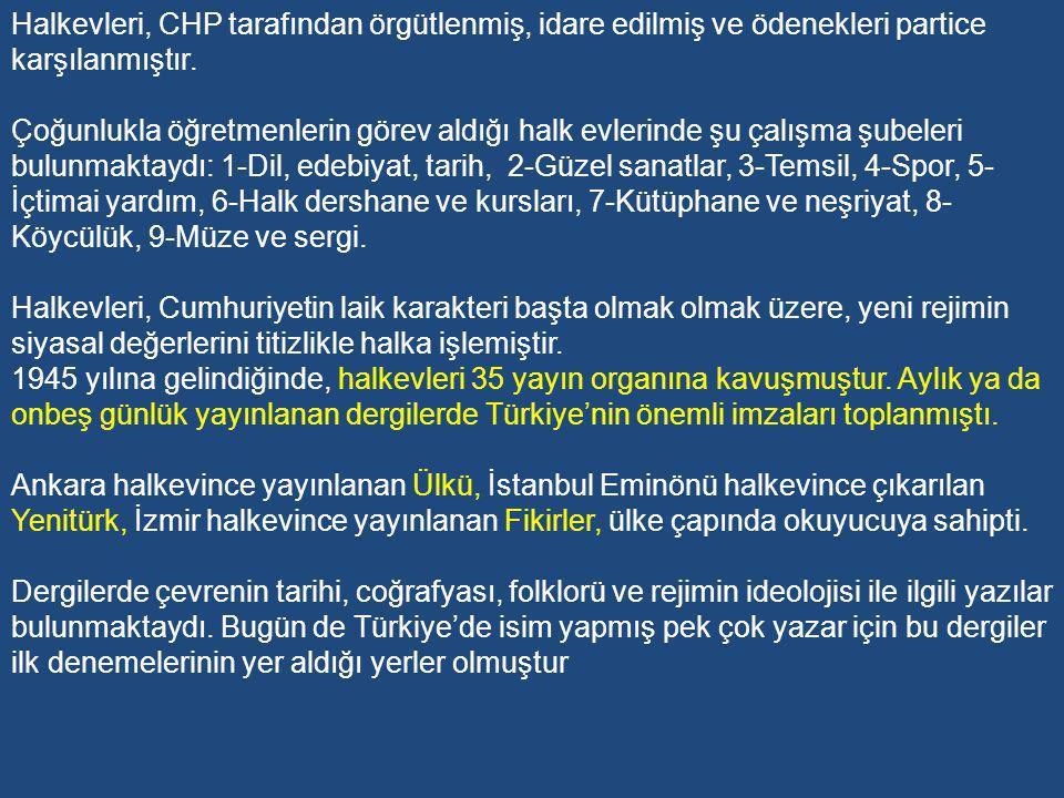 Halkevleri, CHP tarafından örgütlenmiş, idare edilmiş ve ödenekleri partice karşılanmıştır.