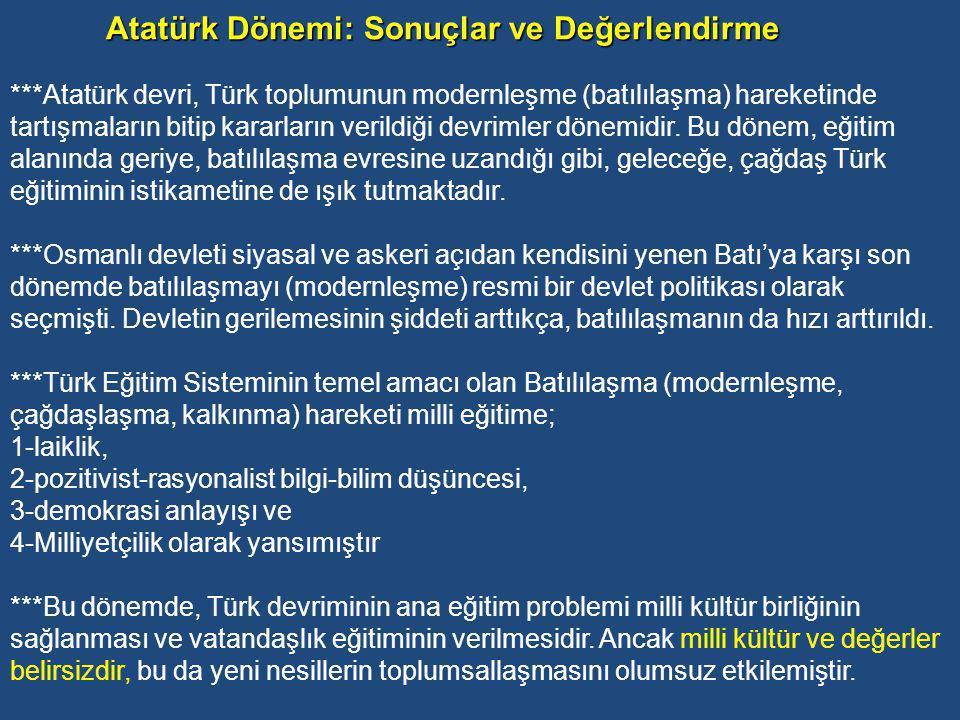 Atatürk Dönemi: Sonuçlar ve Değerlendirme