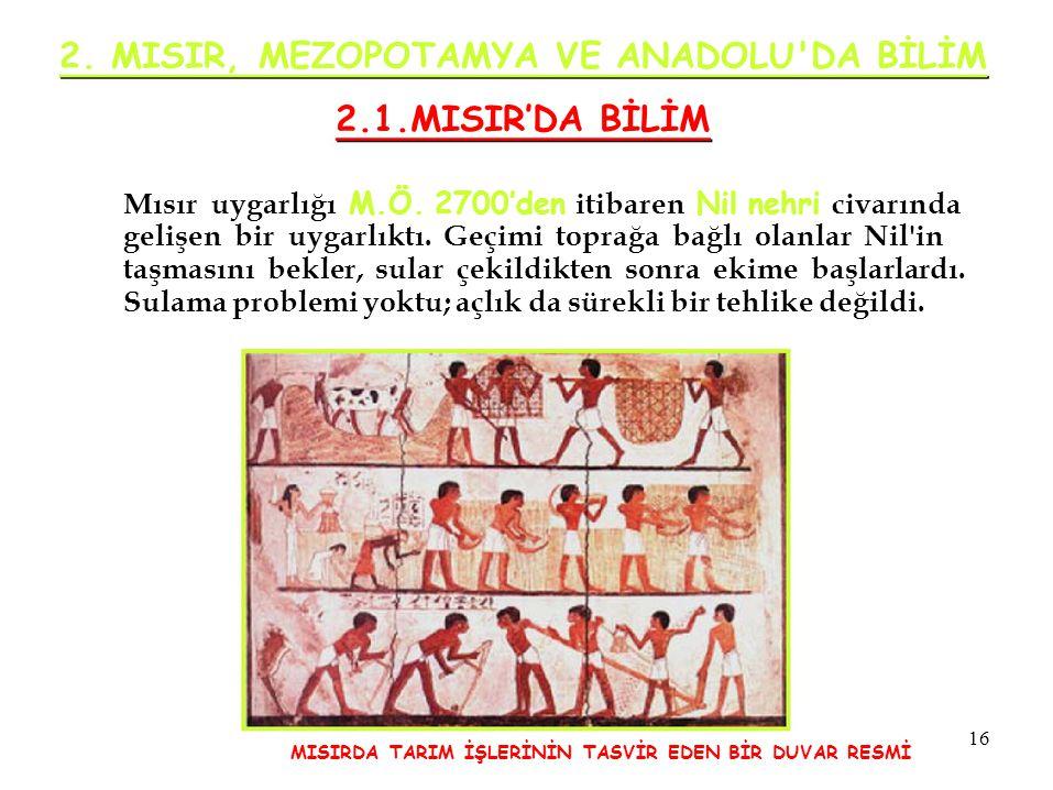 2. MISIR, MEZOPOTAMYA VE ANADOLU DA BİLİM