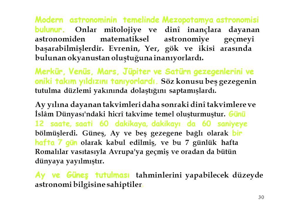 Modern astronominin temelinde Mezopotamya astronomisi