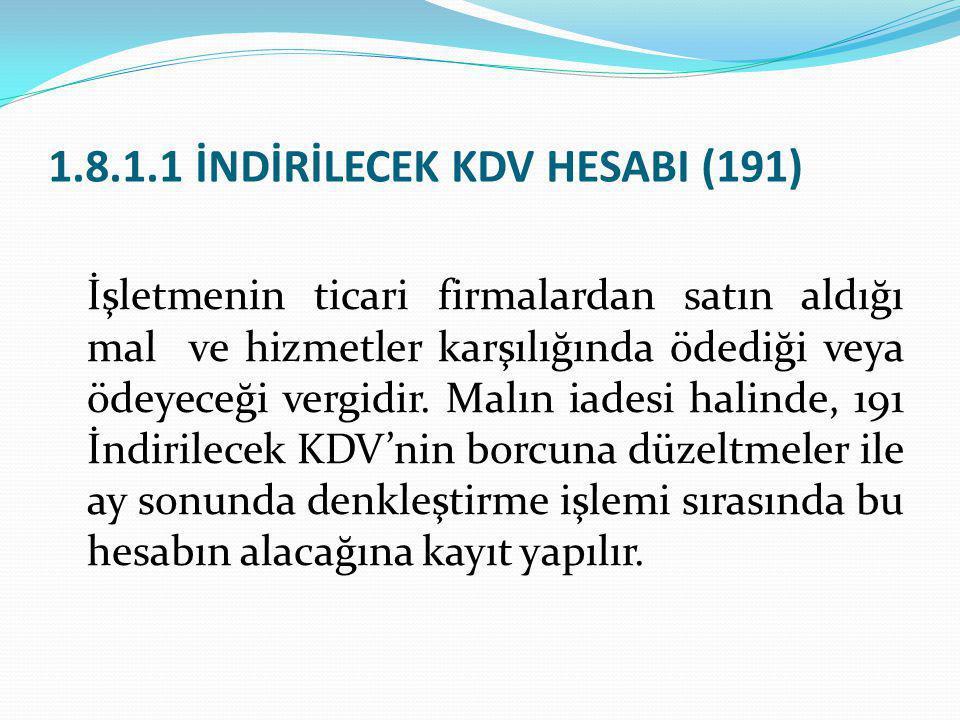 1.8.1.1 İNDİRİLECEK KDV HESABI (191)