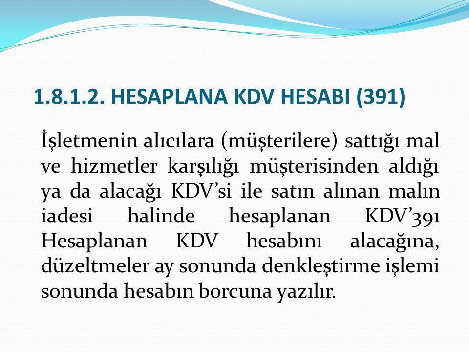 1.8.1.2. HESAPLANA KDV HESABI (391)