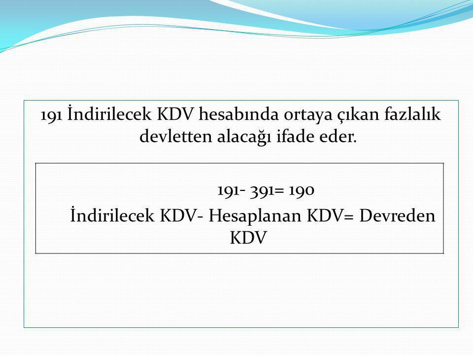 191 İndirilecek KDV hesabında ortaya çıkan fazlalık devletten alacağı ifade eder.