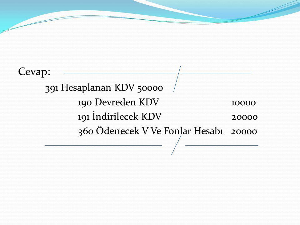 Cevap: 391 Hesaplanan KDV 50000 190 Devreden KDV 10000
