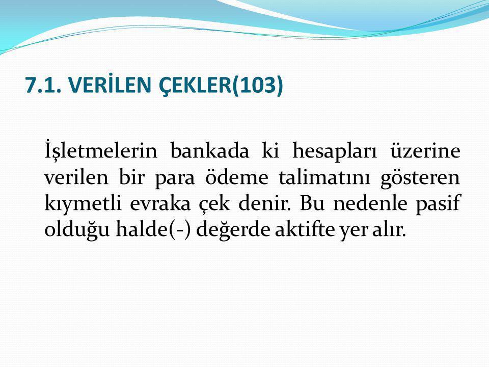 7.1. VERİLEN ÇEKLER(103)