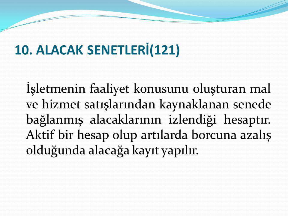 10. ALACAK SENETLERİ(121)