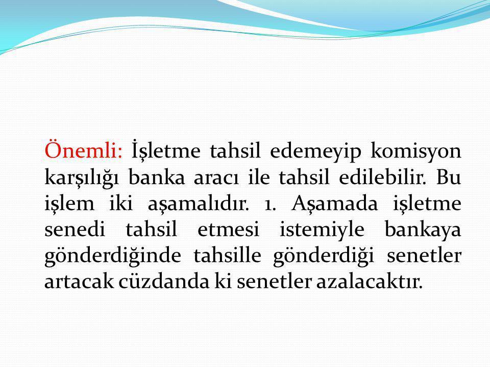 Önemli: İşletme tahsil edemeyip komisyon karşılığı banka aracı ile tahsil edilebilir.