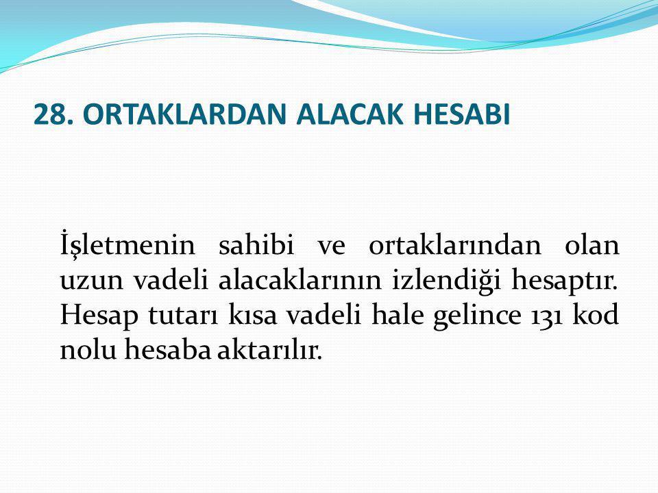 28. ORTAKLARDAN ALACAK HESABI