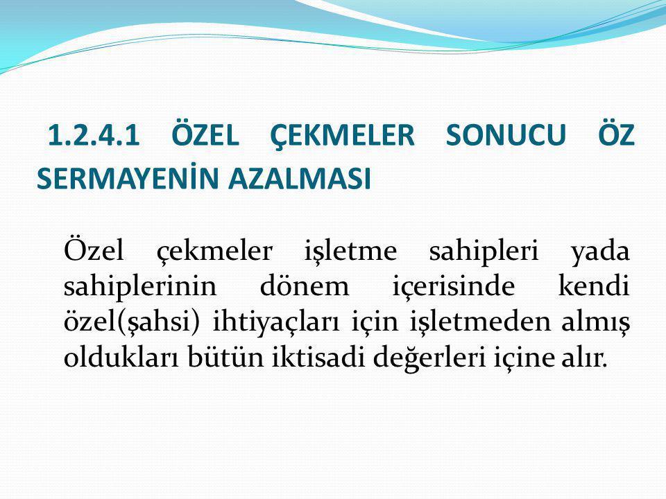 1.2.4.1 ÖZEL ÇEKMELER SONUCU ÖZ SERMAYENİN AZALMASI