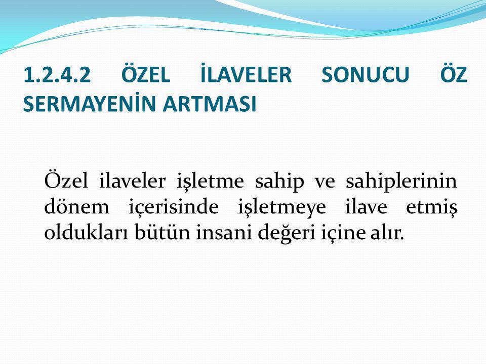 1.2.4.2 ÖZEL İLAVELER SONUCU ÖZ SERMAYENİN ARTMASI