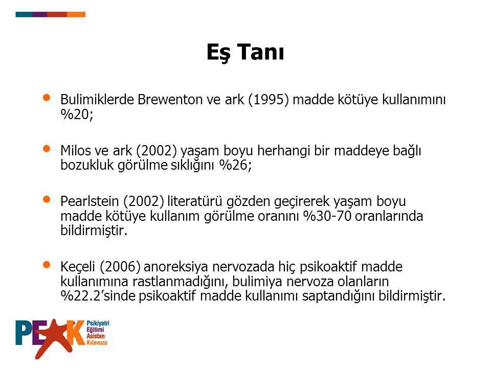 Eş Tanı Bulimiklerde Brewenton ve ark (1995) madde kötüye kullanımını %20;