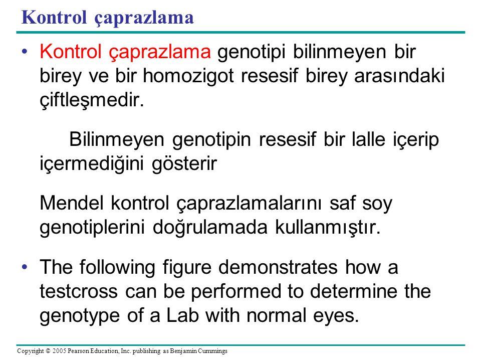 Kontrol çaprazlama Kontrol çaprazlama genotipi bilinmeyen bir birey ve bir homozigot resesif birey arasındaki çiftleşmedir.