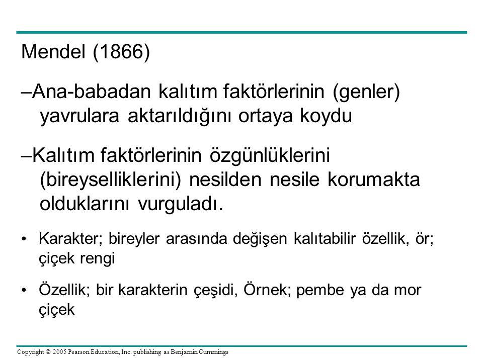 Mendel (1866) –Ana-babadan kalıtım faktörlerinin (genler) yavrulara aktarıldığını ortaya koydu.