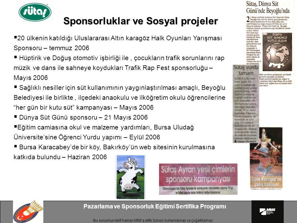 Sponsorluklar ve Sosyal projeler