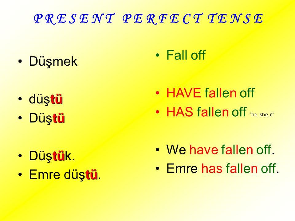 P R E S E N T P E R F E C T T E N S E Fall off Düşmek HAVE fallen off