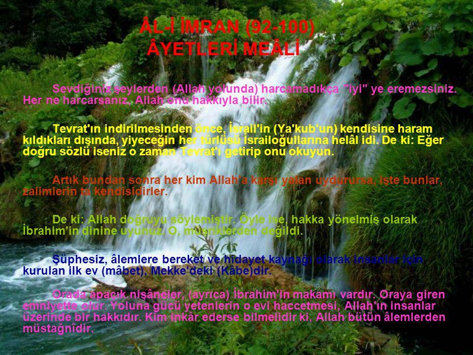 ÂYETLERİ MEÂLİ ÂL-İ İMRAN (92-100)