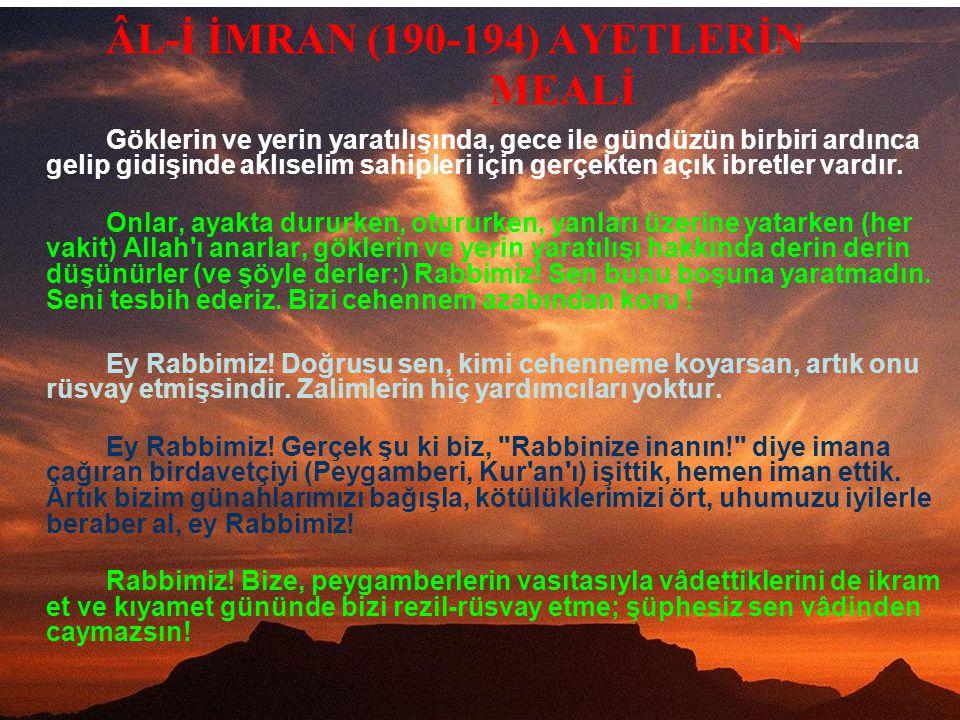 ÂL-İ İMRAN (190-194) AYETLERİN MEALİ