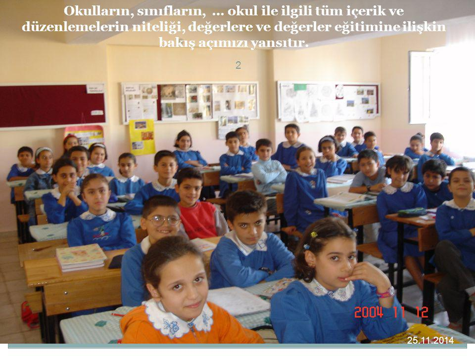 Okulların, sınıfların, … okul ile ilgili tüm içerik ve düzenlemelerin niteliği, değerlere ve değerler eğitimine ilişkin bakış açımızı yansıtır.
