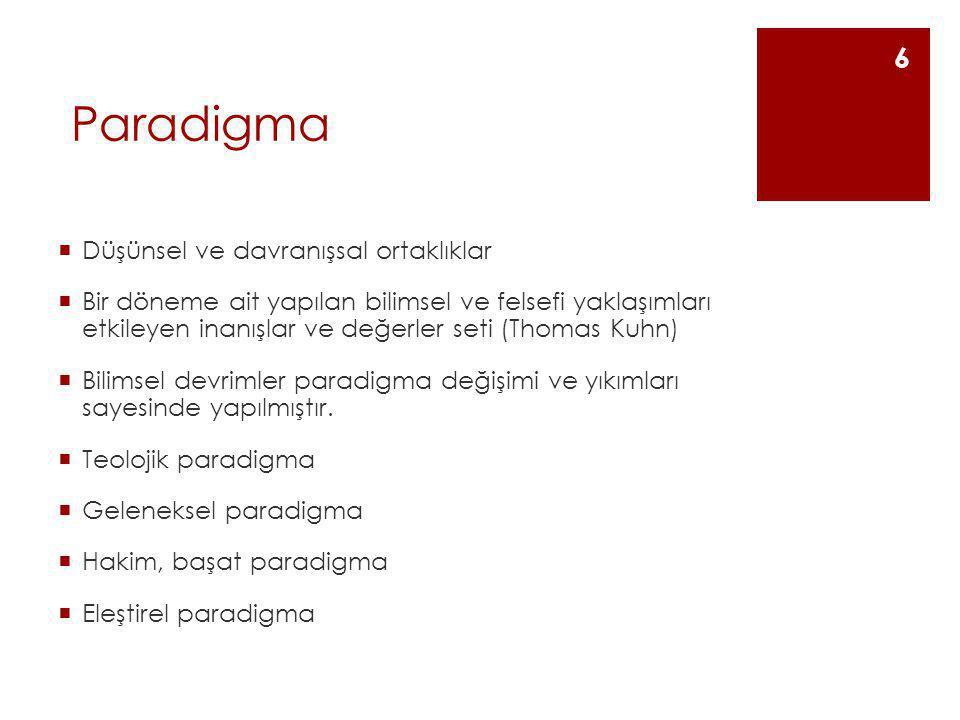 Paradigma Düşünsel ve davranışsal ortaklıklar
