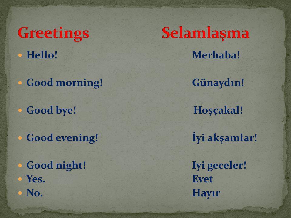 Greetings Selamlaşma Hello! Merhaba! Good morning! Günaydın!